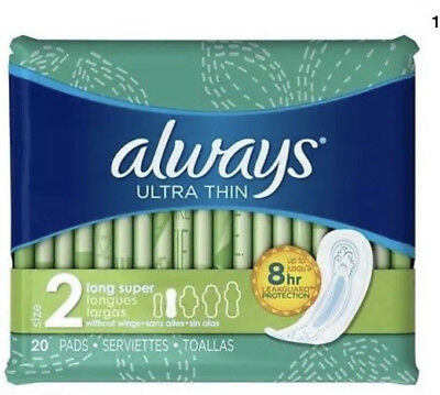 2 PACK 20 Count Always Ultra Thin Super Long Pads Size 2 Without Wings