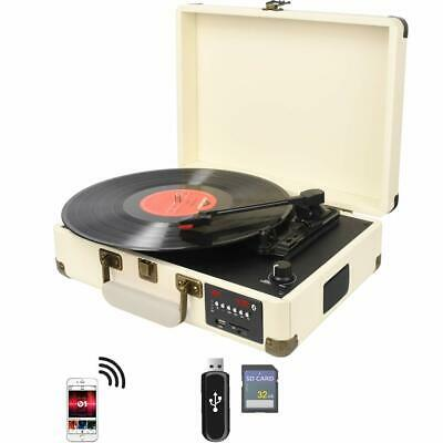 3-Speed Briefcase Record Player Suitcase Vinyl Turntable Bluetooth W/ Speakers