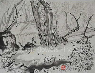 Japanese Chinese art arts painting print watercolor in calligraphy sumi-e signed