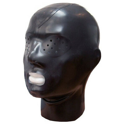 Realistic Black Latex Mask Rubber Mask Open Mouth Gummi 0.4mm for Catsuit Wear