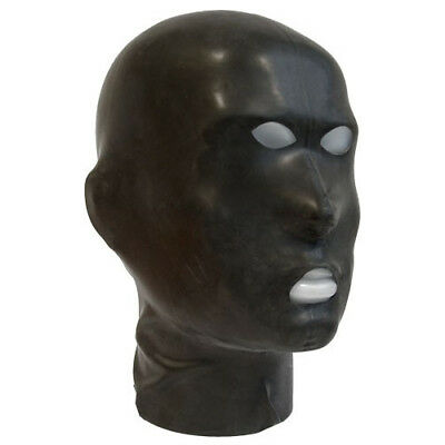 Realistic Black Latex Mask Rubber Hood Open Mouth Gummi 0.4mm for Catsuit Wear