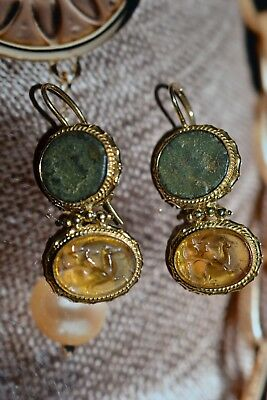 Tagliamonte Ss925*ygpl* Earrings*ancient Coin*venetian* Drop Cameo*horse*rider