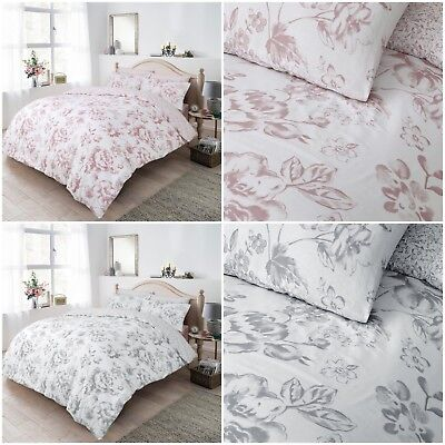 Floral Duvet Cover Bedding Set Pillowcases-Blush & Grey Single Double King Size