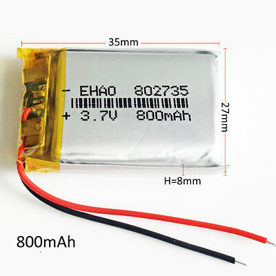 800mAh 3.7V Lipo Li-Polymer Battery 802735 For Mp3 Recorder GPS PDA Camera DVD