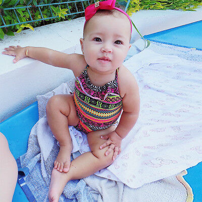 Toddler Baby Girl Swimsuit Romper Bikini Swimwear Bathing Suit Beachwear 3-4T