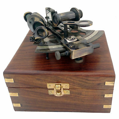 """Nautical Brass Ship Captain's Sextant 4"""" With Wooden Box-Kelvin & Hughes London"""