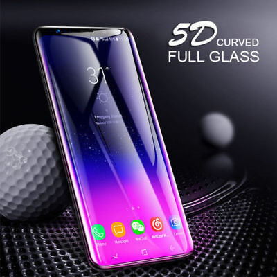 5D For Samsung Galaxy S9 S8 Plus Tempered Glass Full Cover Screen Protector A+