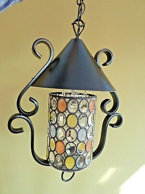 Vintage French Wrought Iron and Coloured Glass Hall Porch / Pendant Light