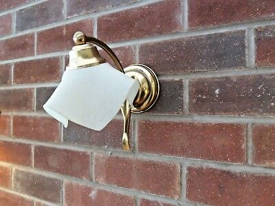 Pair of French Single Vintage Brass / Bronze and Glass Wall Sconce Lights