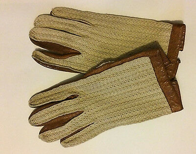 Ladies true vintage tan leather and cotton driving gloves S