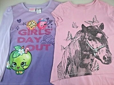 Girls Bulk Clothes  Size 6 tshirts  shopkins  and glittery horse