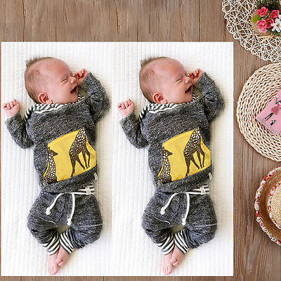 2pcs Newborn Kids Baby Boy Girl Clothes Hooded Tops+Pants Outfits Set Tracksuit