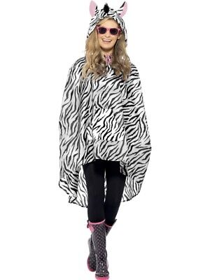 08ab63a3b3de4 Zebra Poncho Costume Ladies Zoo Animal Fancy Dress Hen Night Party Outfit  NEW!