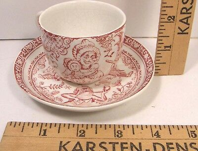 Victorian Allerton English Red Transferware Punch & Judy Child's Cup & Saucer