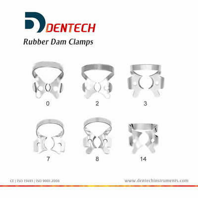 Dental Restorative Set Of 6 Rubber Dam Clamps Restoration Orthodontic German Ste