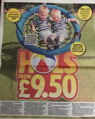Sun Holidays From £9.50 All 10 Tokens needed & 4 page Guide &  Booking Form