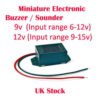 Miniature Electronic Buzzer / Sounder 9v or 12v  with Flying Leads