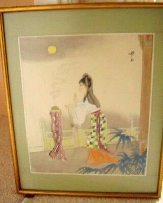 Japanese Signed Silk Painting Geisha -Girl picture Framed,35 cm X 43 cm,2