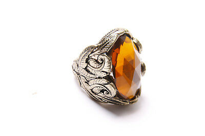 Ladies Beautiful Antique Style Gold Ornamented Ring with Large Orange Gem (T333)