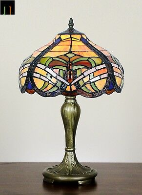 Free Postage Tiffany Baroque Stained Glass Bedside Table Lamp Art Deco Leadlight