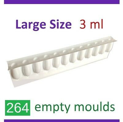 264 x 3ml  Empty Disposable Moulds Suppository Mold Shell HomeMade Suppositories