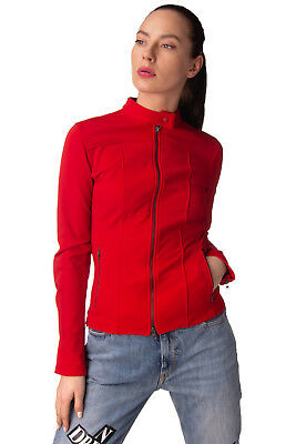 ASPESI Jacket Size S Red Fleece Inside Zipped Cuffs Stand-Up Collar RRP €490
