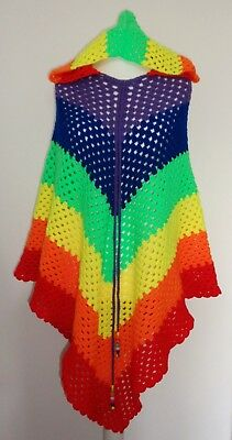 Hand Crafted Retro Rainbow Crochet Poncho with Hood Hippie Festival Vintage