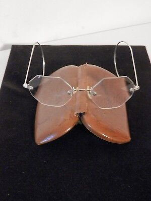 Rimless Eyeglasses with Octagonal Lenses and Case Vintage
