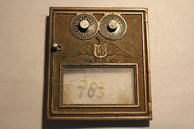 Antique Double Dial Post Office Mail Box Door & Frame Brass Flying Eagle Corbi