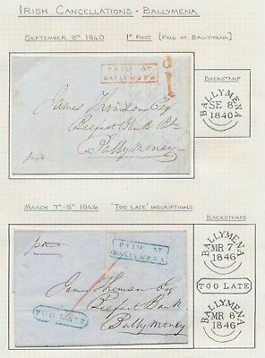 1840-1846 IRELAND COVERS 1d RATE, PAID IN BALLYMENA TO BELFAST BANK, TOO LATE VF