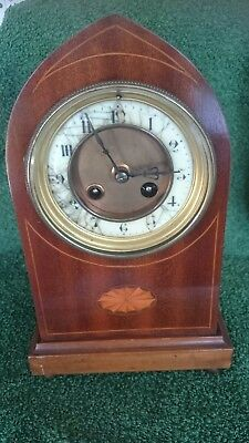 Antique French Mahogany 8 Day Striking Lancet Clock