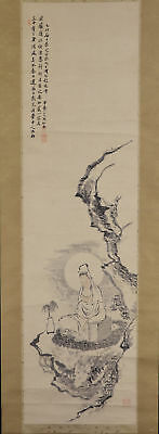 "JAPANESE HANGING SCROLL ART Painting ""Kanon"" Buddhism Asian antique  #E5746"