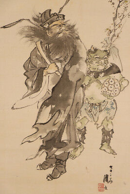 "JAPANESE HANGING SCROLL ART Painting ""Zhong kui and Ogre"" Asian antique  #E5739"