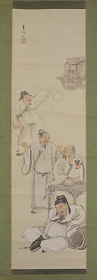 "JAPANESE HANGING SCROLL ART Painting ""Chinese wisemen"" Asian antique  #E5748"