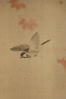 "JAPANESE HANGING SCROLL ART Painting ""Flying Bird"" Asian antique  #E5760"