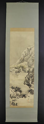 JAPANESE HANGING SCROLL ART Painting Snowy Scenery Asian antique  #E5749