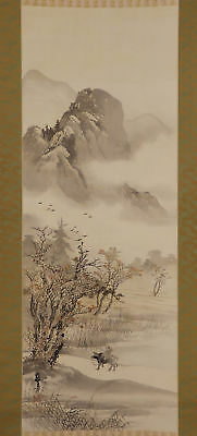 JAPANESE HANGING SCROLL ART Painting Scenery Asian antique  #E5742