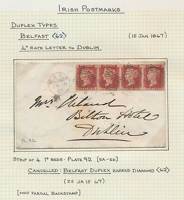 1867 IRELAND COVER BELFAST TO DUBLIN 4d RATE 4x 1d RED Pl.92, FINE PIECE