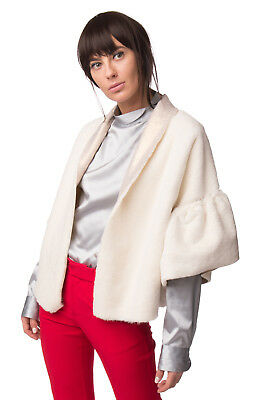 GIORGIA & JOHNS Faux Fur Coat Size S Ivory Elbow Sleeve Bell Cuffs Made in Italy