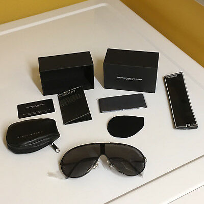 Porsche Design P'8486 Folding Polished Titanium Sunglasses New In Box! Nice