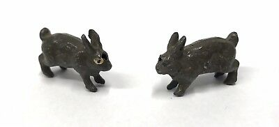 Lovely Pair Of Antique Cold Painted Lead Rabbits