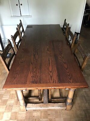 oak refectory table and chairs
