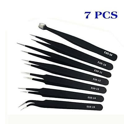 YAOGONG Precision 7-Piece Anti-Static Stainless Steel Tweezers Non-magnetic  NEW