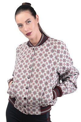 MANILA GRACE DENIM Bomber Jacket Size 3 / L Floral Pattern Made in Italy RRP€212