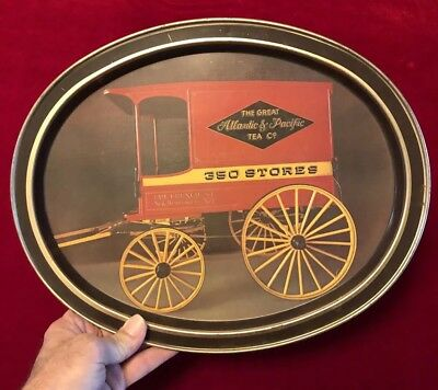 """Vintage """"The Great Atlantic & Pacific Tea Co."""" A & P Metal Serving Tray"""