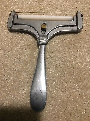 Vtg Adjustable Cheese Slicer Heavy Duty Cast Aluminum Wire Cutter w Roller Bar