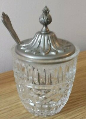 Vintage Cut Glass Lidded Jam Jar And Silver Plated Spoon