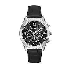 Bulova 96A173 Men's Classic Chronograph Black Leather Strap Silver-Tone Watch