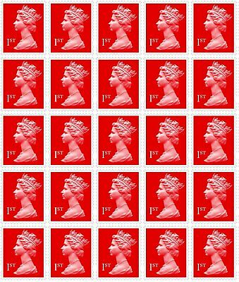 25 x 1st Class Royal Mail Stamps, Easy Peel and Stick , self-Adhesive UNUSED