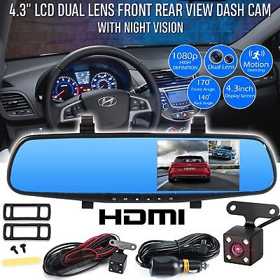 1080P HD Car DVR Dual Lens Auto Dash Video Mirror Cam Record Rear Camera 4.3""